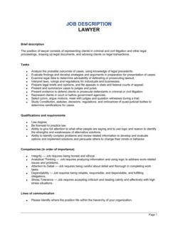 Lawyer Job Description