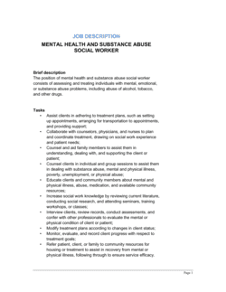 Mental Health and Substance Abuse Social Worker Job Description