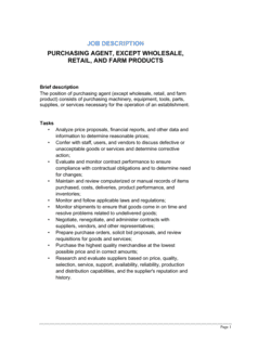 Purchasing Agent (General) Job Description