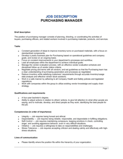 Purchasing Manager Job Description