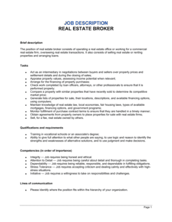 Real Estate Broker Job Description