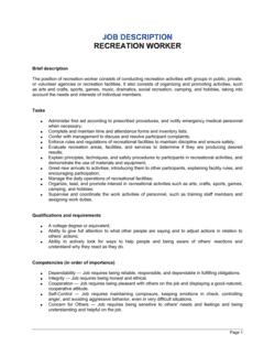 Recreation Worker Job Description