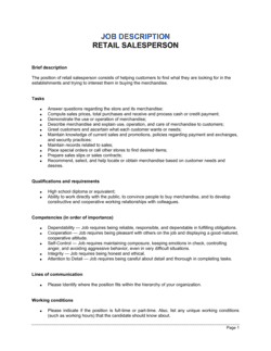 Retail Salesperson Job Description