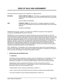 Deed of Sale and Assignment Lease