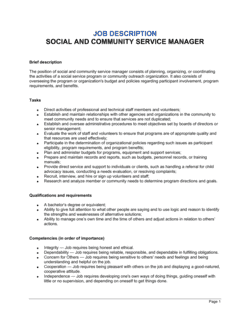 Social and Community Service Manager Job Description