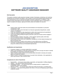 Software Quality Assurance Manager Job Description