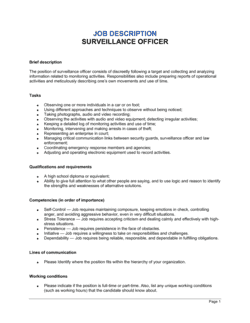 Surveillance Officer Job Description