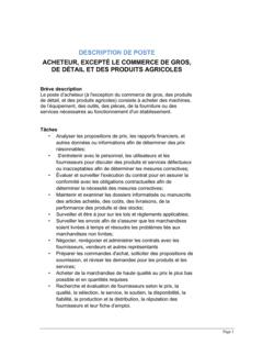 Acheteur (général) Description de poste