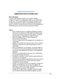 Administrateur système Unix Description de poste