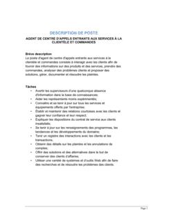 Agent en centre d'appels entrants (service à la clientèle et commandes) Description de poste