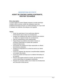 Agent en centre d'appels entrants (soutien technique) Description de poste
