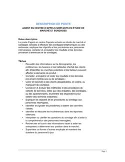 Agent en centre d'appels sortants (étude de marché et sondages) Description de poste