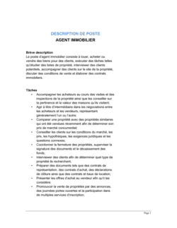 Agent immobilier Description de poste