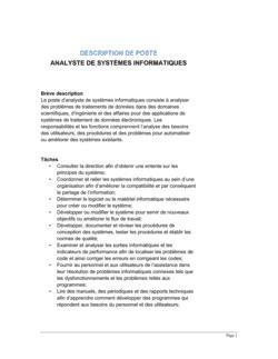 Analyste en systèmes informatiques Description de poste