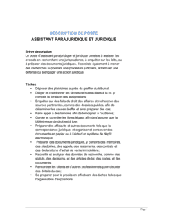 Assistant parajuridique et juridique Description de poste