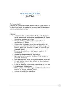 Coiffeur Description de poste