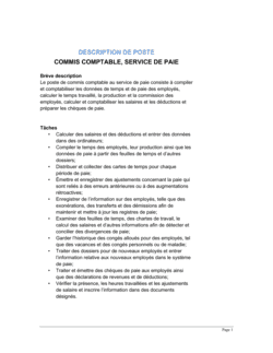 Commis comptable service de paie Description de poste