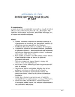 Commis comptable tenue de livre et audit Description de poste