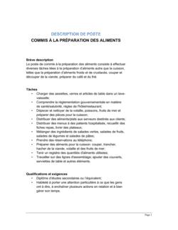 Commis à la préparation des aliments Description de poste
