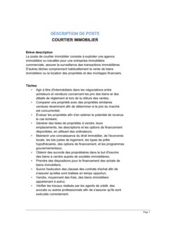 Courtier immobilier Description de poste