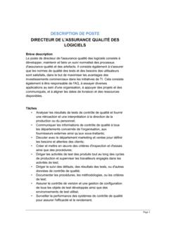 Directeur de l'assurance qualité (logiciel) Description de poste