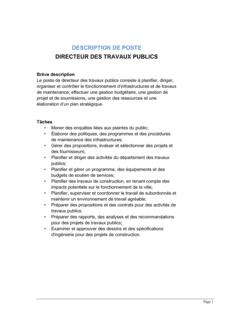 Directeur des travaux publics Description de poste