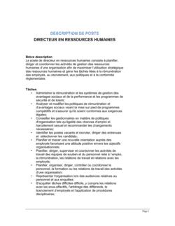Directeur en ressources humaines Description de poste