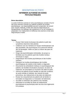Infirmier autorisé (soins psychiatriques) Description de poste