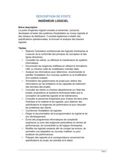 Ingénieur logiciel  Description de poste