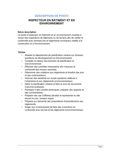 Inspecteur en bâtiment et en environnement Description de poste