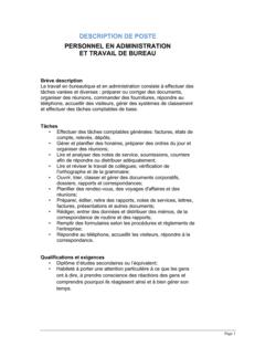 Personnel en administration et travail de bureau Description de poste