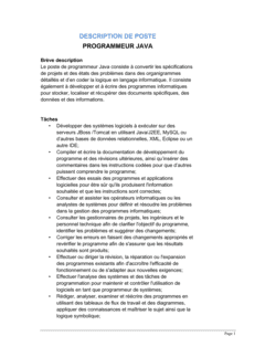 Programmeur Java Description de poste