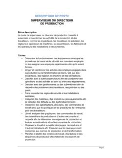 Superviseur ou directeur de production Description de poste