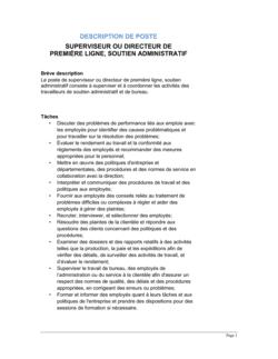 Superviseur-directeur (soutien administratif) Description de poste