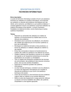 Technicien informatique Description de poste