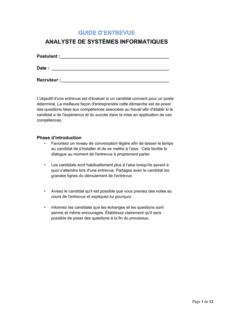 Guide d'entrevue Analyste de systèmes informatiques
