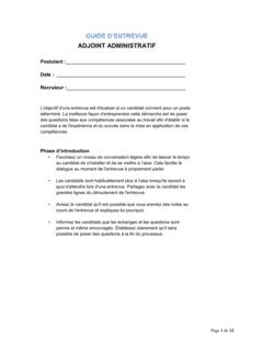 Guide d'entrevue Assistant administratif guide