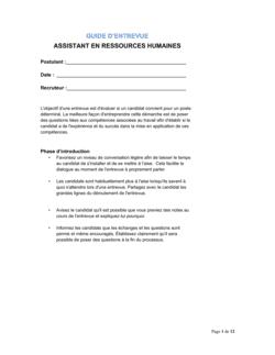 Guide d'entrevue Assistant en ressources humaines