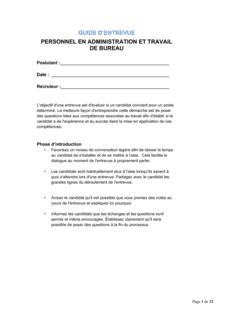 Guide d'entrevue Personnel en administration et travail de bureau