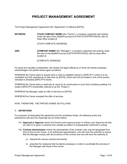 Project Management Agreement