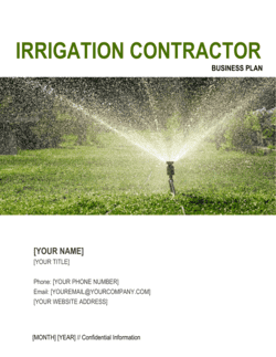 Irrigation Contractor Business Plan