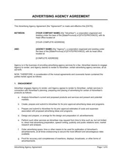 Advertising Agency Agreement