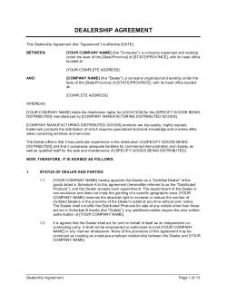 Dealership Agreement