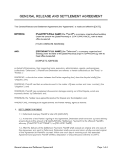 General Release and Settlement Agreement