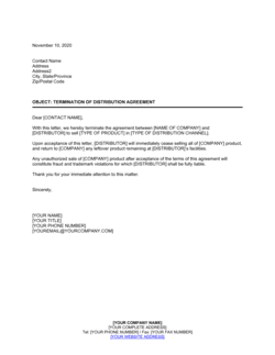 Termination of Distribution Agreement