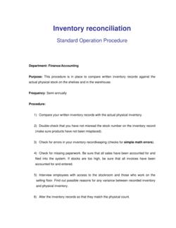 How to do Inventory Reconciliation