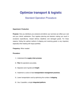 How to Optimize Transport and Logistic