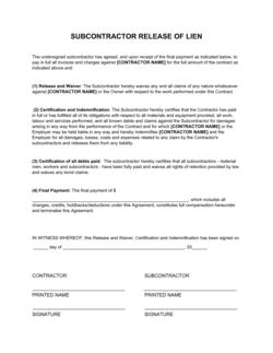 Subcontractor Release Of Lien