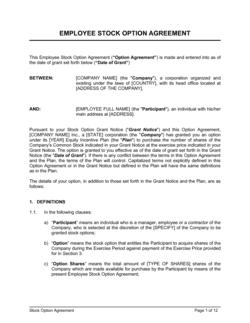 Employee Stock Option Agreement