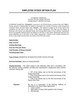 Employee Stocks Option Grant Notice